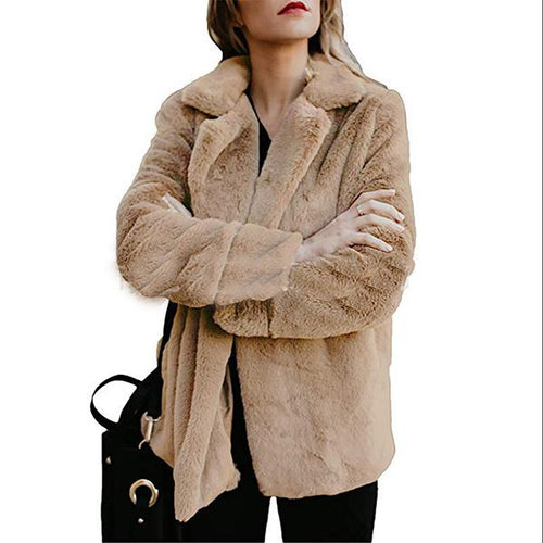 Winter Button Up Plush Jacket Coat
