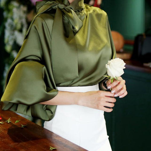 Casual Chiffon Bishop Sleeve Pure Colour Shirt