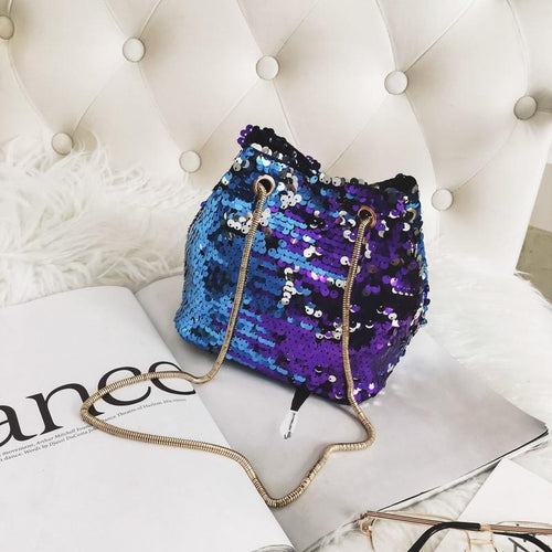 Mermaid's Colorful Sequined Bucket Bag With One Shoulder Woman's Bag