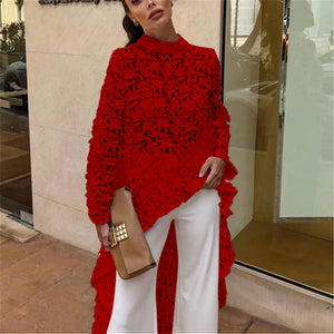 Fashion Sexy Hollow Lace Long Sleeve Irregular Top