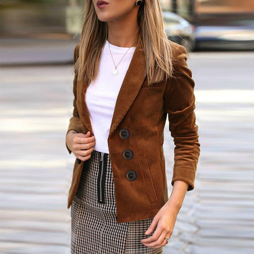 Autumn New Lapel Long-Sleeve Women Jacket