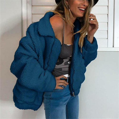 Autumn And Winter   Fashion Zipper Plush Comfort Warm Jacket