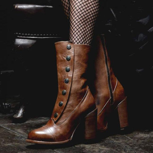 Chic High Heel Coarse Heel Plain Rivets Decorated Middle Boots