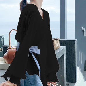 Fashion V Neck Loose Long Sleeve Chiffon Blouse