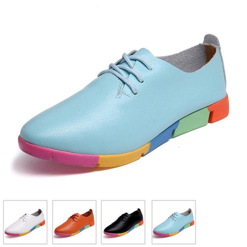 Flat bottom leather soft shoes