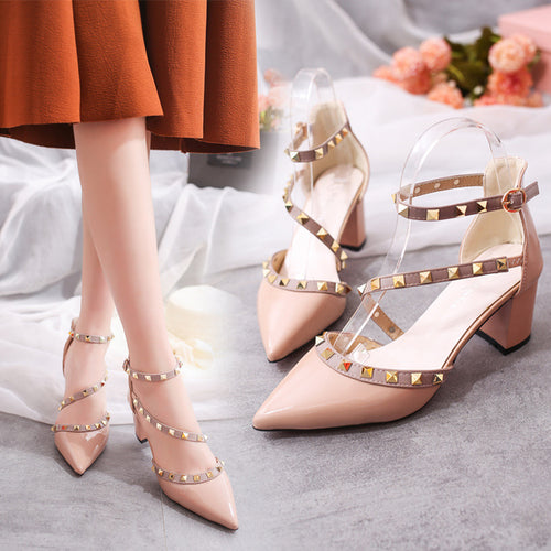 Fashion Rivets Comfortable High Heels Shoes