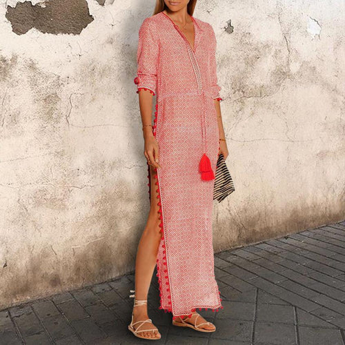 Sexy V Neck High Split Tassel Printed Causal Maxi Dress