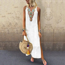 Load image into Gallery viewer, Sexy Side Split V Neck  Printed Sleeveless Casual Vintage Dresses