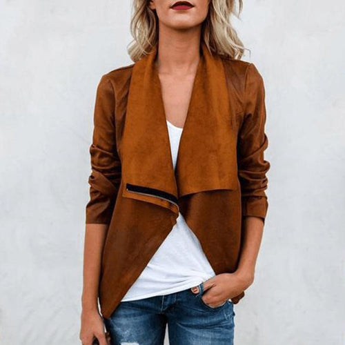 Fashion Suede Long Sleeve Jacket