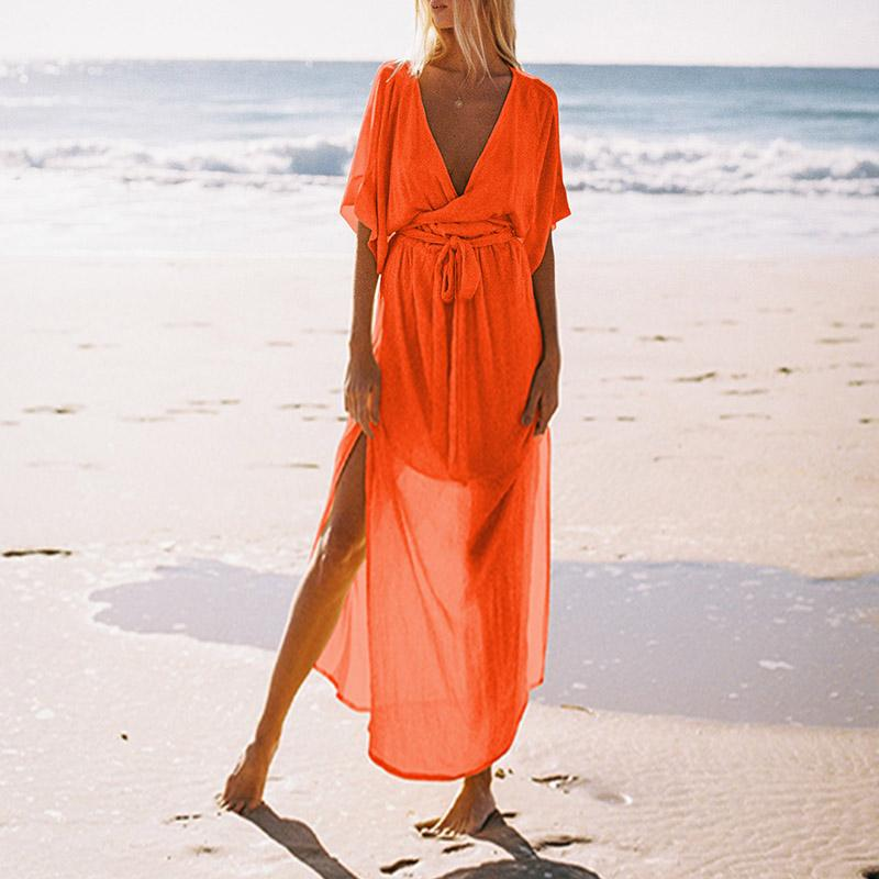 Deep V-Neck Chiffon Beach Maxi Dress