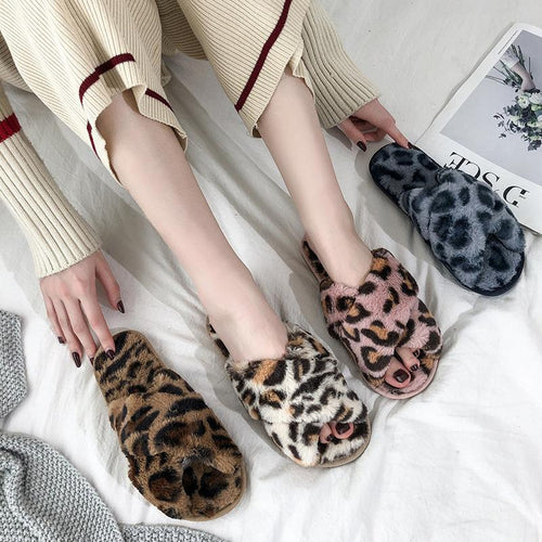 Fashion Casual women's Leopard   print warm flat-bottomed plush slippers