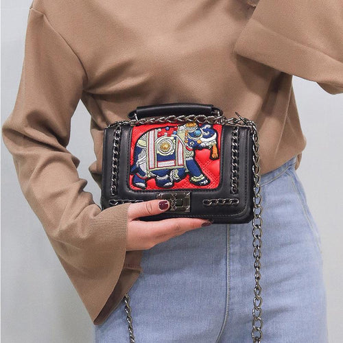 New Fashion Embroidery Thread Small Elephant Women's Handbag
