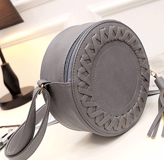 Small round woven crossbody shoulder bag