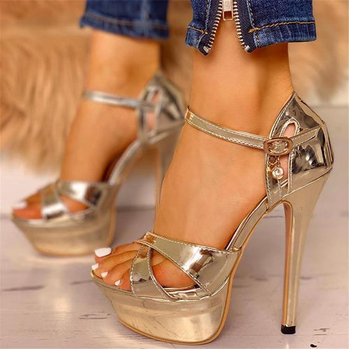 Ankle Buckled Platform Thin Heeled Shoes