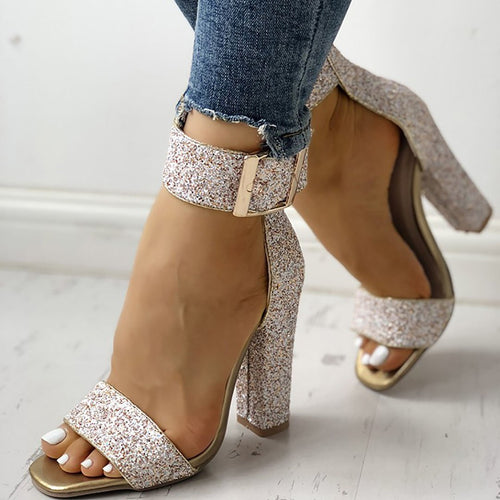 Stylish Sequin Open Toe Chunky High Heeled Shoes