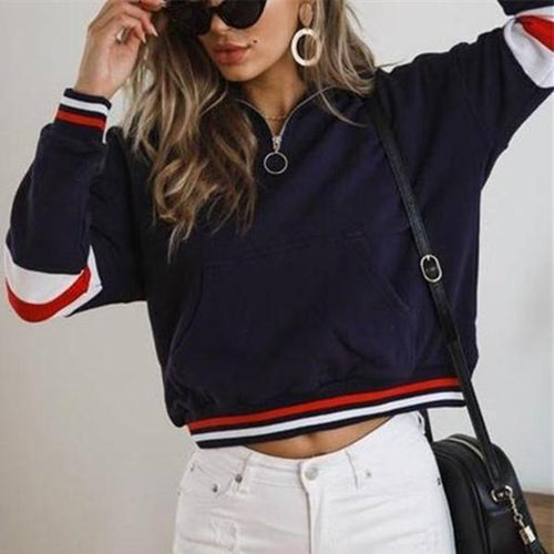 Fashion Casual Matching Color Zipper Jacket Coat