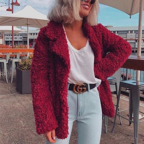 Fashion Pure Color Casual Thickened Long Sleeve Plush Lapel Jacket Coat