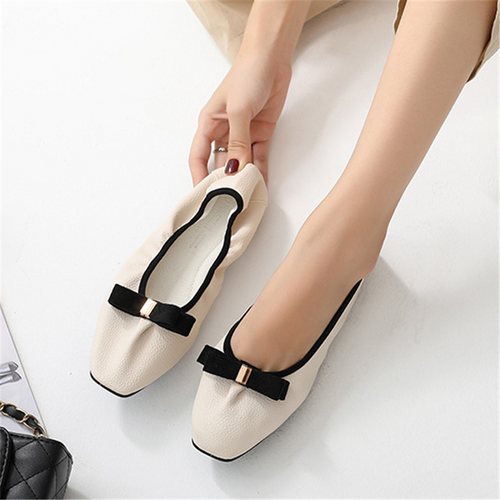 Bow soft square flat shoes