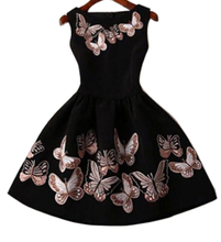 Load image into Gallery viewer, Butterfly Printed Slim Skater Dress