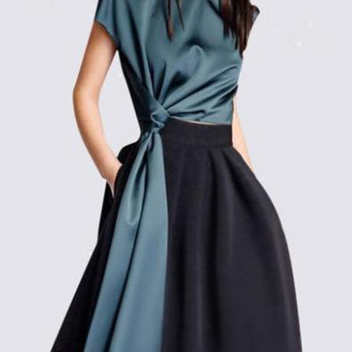 Fashion Round Collar Belt Plain Skirt Skater Dress Suit