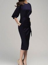 Load image into Gallery viewer, Round Neck  Bowknot Cutout  Belt  Plain  Puff Sleeve Shift Dresses