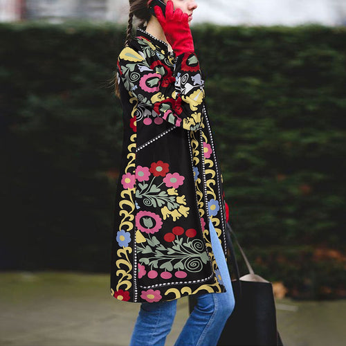 Retro Ethnic Fashion Slim Print Long Sleeve Coat