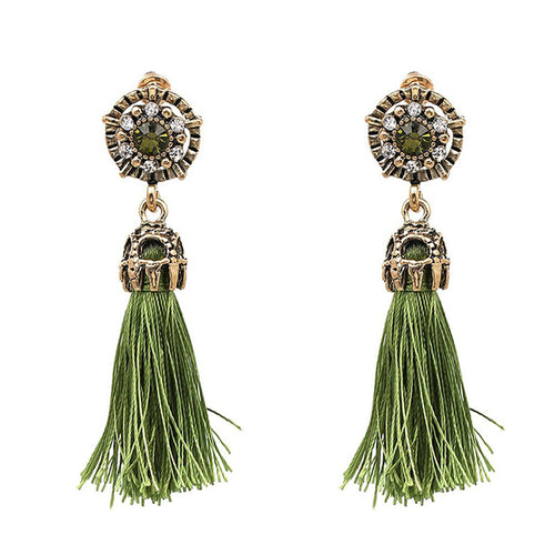 Statement Tassel Rhinestone Drop Earrings
