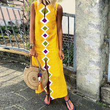 Load image into Gallery viewer, Fashionable Vintage Printed Autumn Yellow Shift Dress