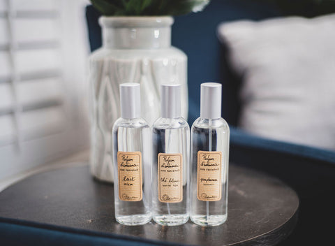 Our room sprays have a higher concentration of fragrance oil like an eau de parfurm for a more intense scent