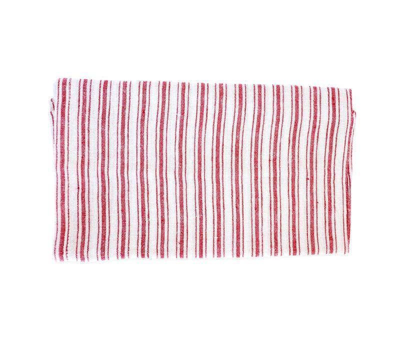 Caravan Linen Boat Stripe White/Red Tea Towel