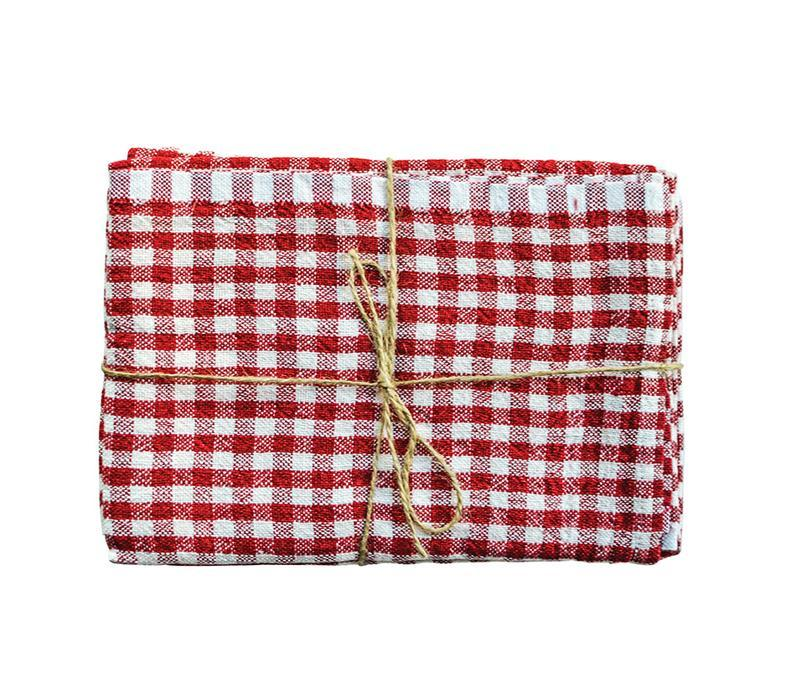 Caravan Gingham Red/Ivory Tea Towel