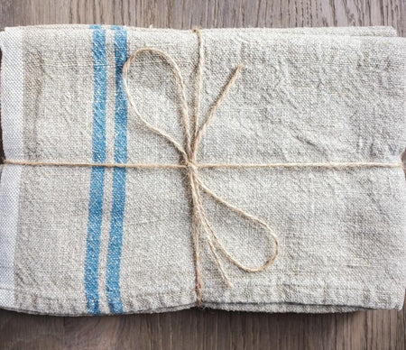 Caravan Vintage Linen Natural/Blue Tea Towel