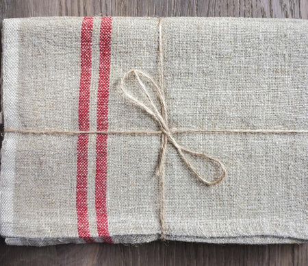 Caravan Vintage Linen Natural/Red Tea Towel - Lothantique Canada