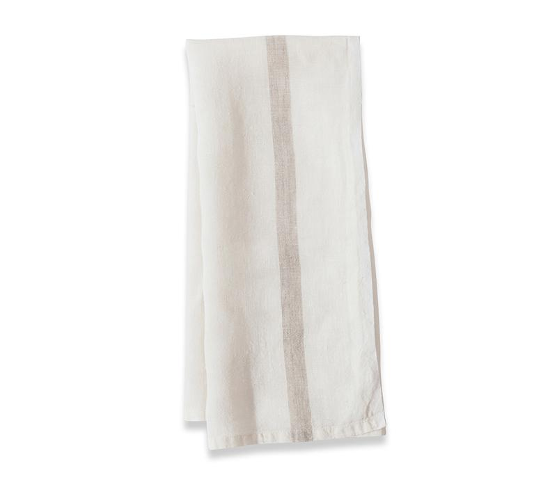 Caravan Laundered Linen White/Natural Tea Towel