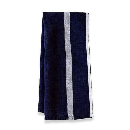 Caravan Laundered Linen Indigo/White Tea Towel