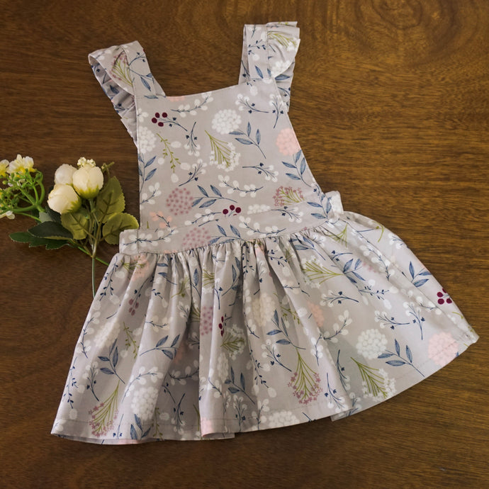 FLORAL DRESS GRAY SET