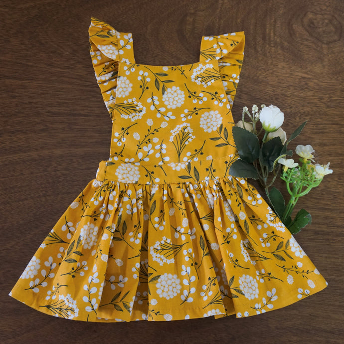 FLORAL DRESS MOSTAZA SET