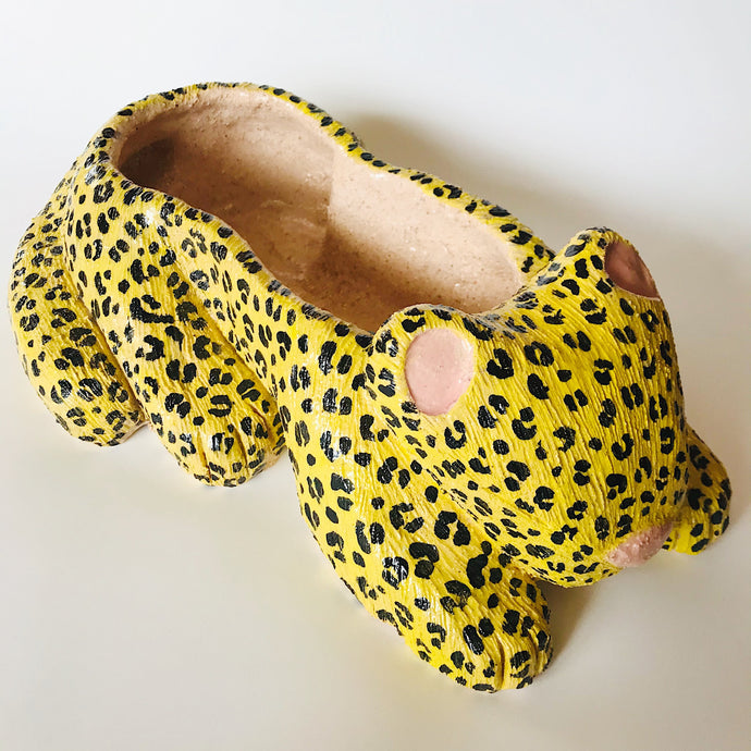 MACETA LEOPARDO AMARILLO