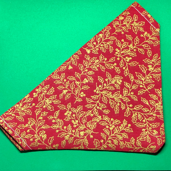 Golden Red Holly Bandana