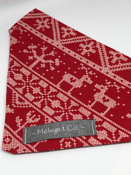 """Christmas Jumper"" Premium Bandana - White on Red"