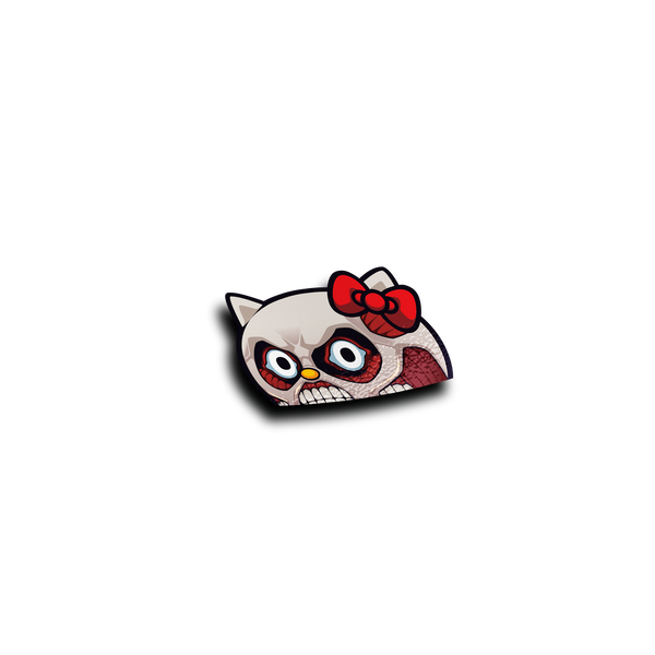 Scary Titan Kitty Peeker Sticker