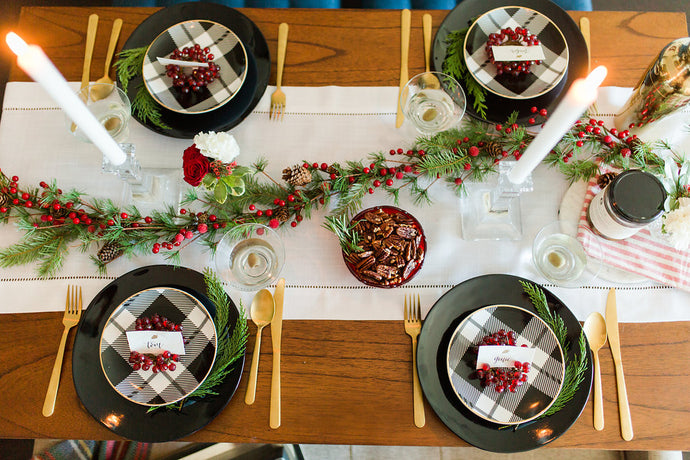 A cheerful tablescape with a pop of retro glam