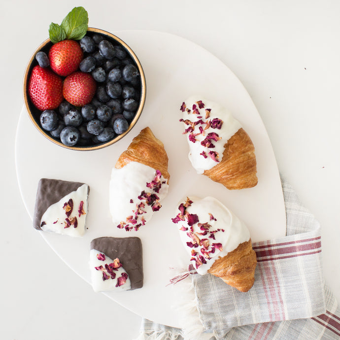 Chocolate Dipped Croissants with Rose Petals