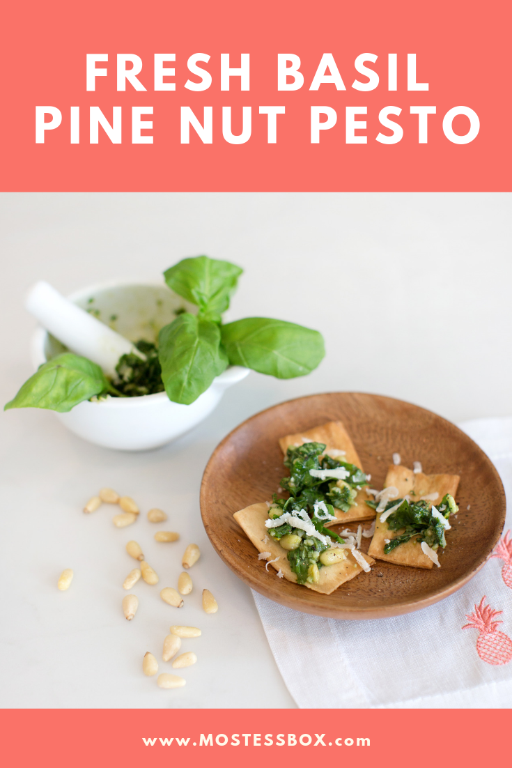 Fresh Homemade Basil Pine Nut Pesto Recipe featured by top US hosting expert, Mostess