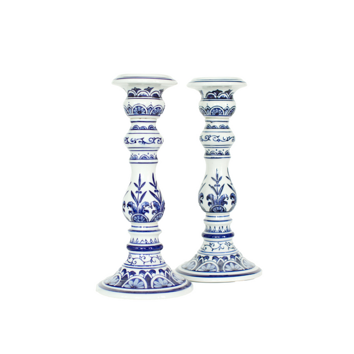 Blue & White Ginger Jar Style Large Candlestick Set (2)