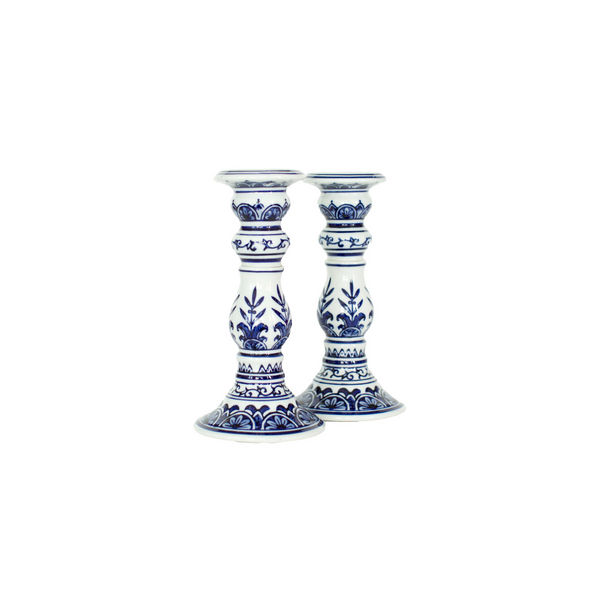Blue & White Small Candlestick Set (2)