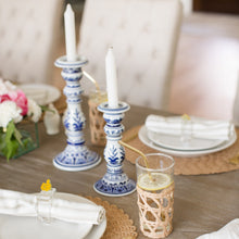 Load image into Gallery viewer, Blue & White Ginger Jar Style Medium Candlestick Set (2)