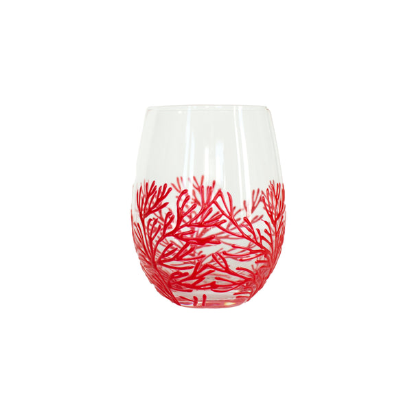 Coral Reef Hand-painted Wine Glass - Red