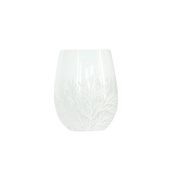 White Coral Reef Hand Painted Wine Glass - Final Sale