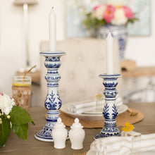Load image into Gallery viewer, Blue & White Large Candlestick Set (2)